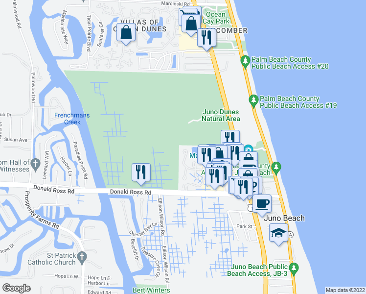 map of restaurants, bars, coffee shops, grocery stores, and more near 302 Sea Oats Drive in Juno Beach