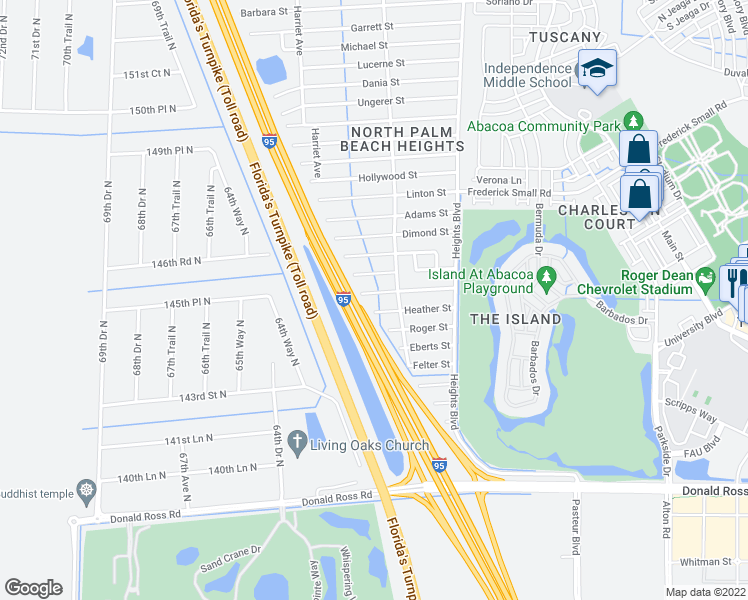 map of restaurants, bars, coffee shops, grocery stores, and more near 6222 Kendrick Street in Jupiter
