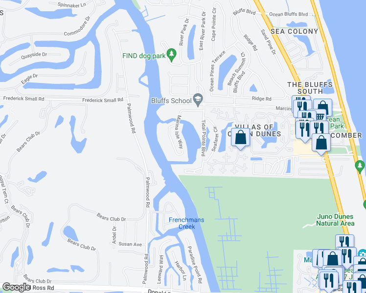 map of restaurants, bars, coffee shops, grocery stores, and more near 2401 Marina Isle Way in Jupiter