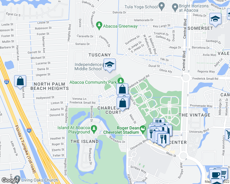 map of restaurants, bars, coffee shops, grocery stores, and more near 4126 Greenway Drive in Jupiter