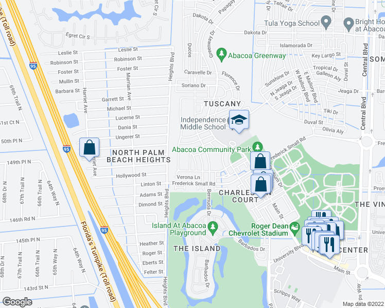 map of restaurants, bars, coffee shops, grocery stores, and more near Circle in Jupiter