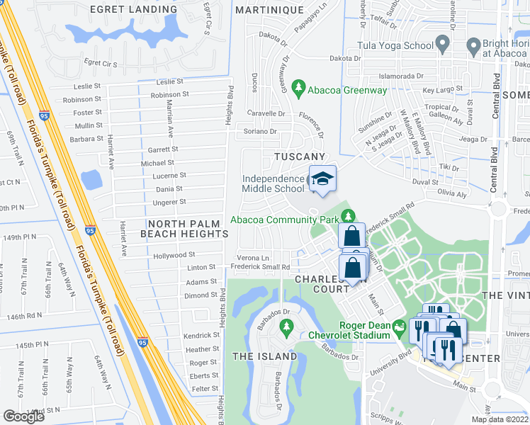 map of restaurants, bars, coffee shops, grocery stores, and more near 125 Savona Drive in Jupiter