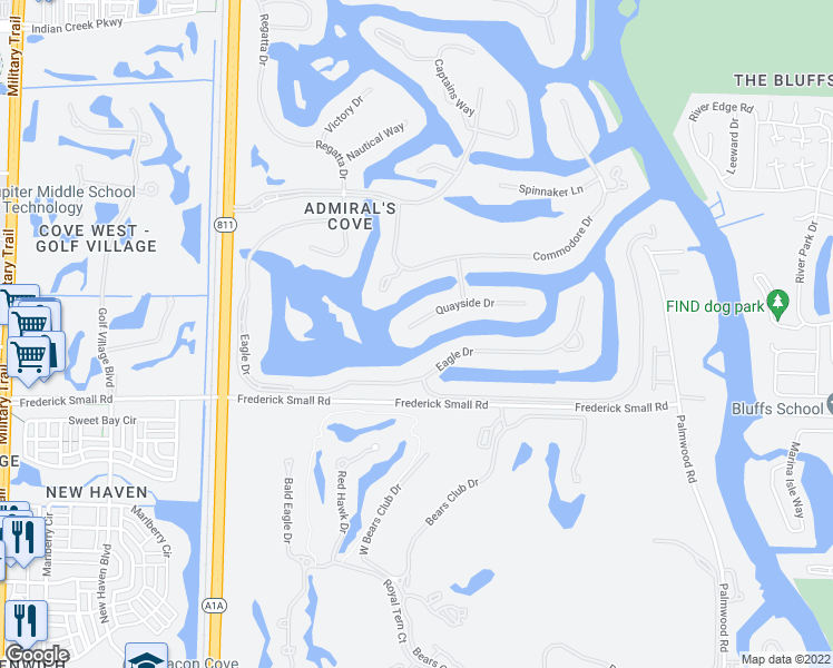 map of restaurants, bars, coffee shops, grocery stores, and more near 105 Quayside Drive in Jupiter