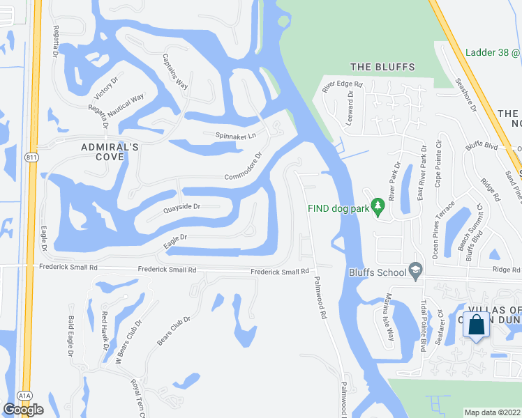 map of restaurants, bars, coffee shops, grocery stores, and more near 389 Eagle Drive in Jupiter