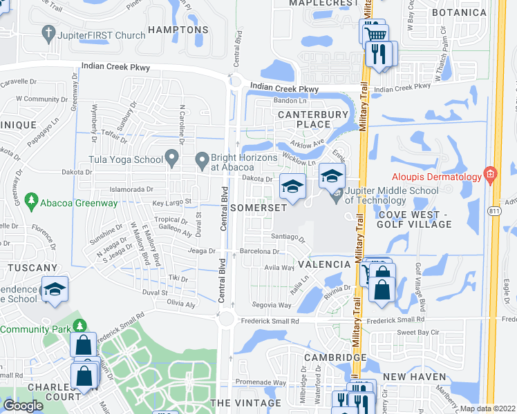 map of restaurants, bars, coffee shops, grocery stores, and more near 776 Dakota Drive in Jupiter