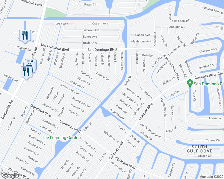 map of restaurants, bars, coffee shops, grocery stores, and more near 8354 Santa Cruz Drive in Port Charlotte