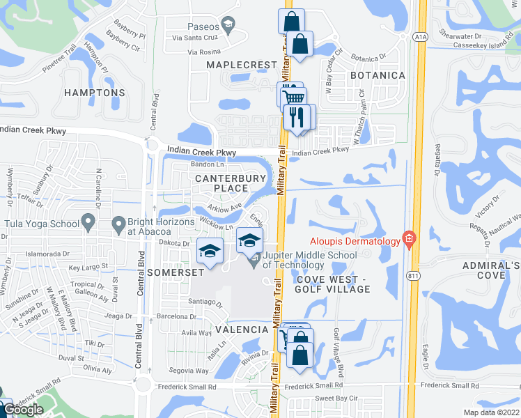 map of restaurants, bars, coffee shops, grocery stores, and more near 150 Lismore Lane in Jupiter