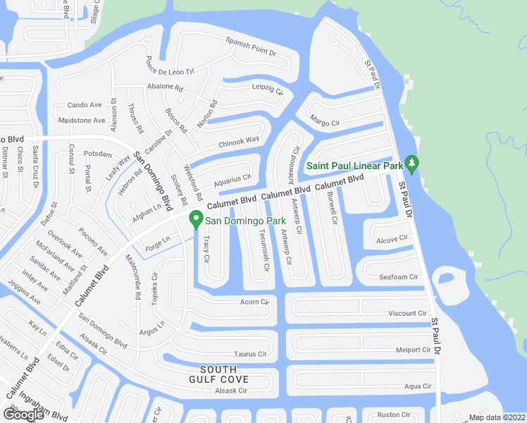 map of restaurants, bars, coffee shops, grocery stores, and more near 8380 Tecumseh Circle in Port Charlotte