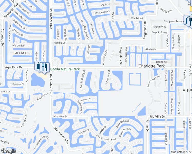 map of restaurants, bars, coffee shops, grocery stores, and more near Wood Thrush Drive in Punta Gorda