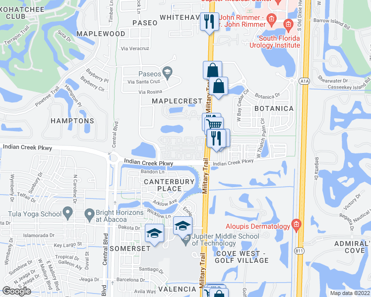 map of restaurants, bars, coffee shops, grocery stores, and more near 400 Via Royale in Jupiter