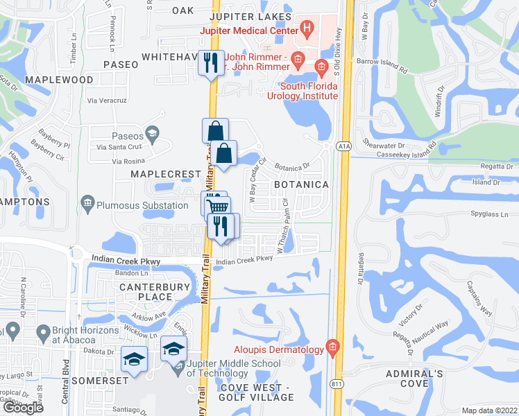 map of restaurants, bars, coffee shops, grocery stores, and more near 219 West Bay Cedar Circle in Jupiter