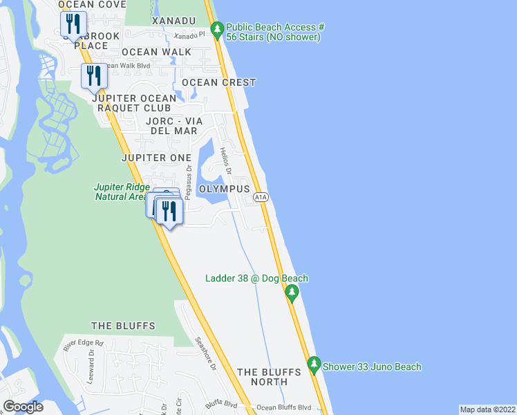 map of restaurants, bars, coffee shops, grocery stores, and more near 120 Jupiter Key Road in Jupiter