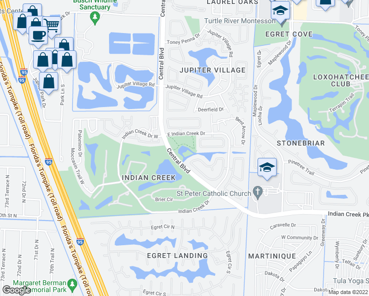 map of restaurants, bars, coffee shops, grocery stores, and more near 1795 East Indian Creek Drive in Jupiter