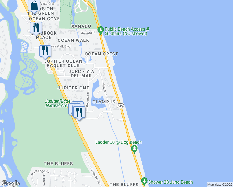 map of restaurants, bars, coffee shops, grocery stores, and more near 1605 Highway A1A in Jupiter