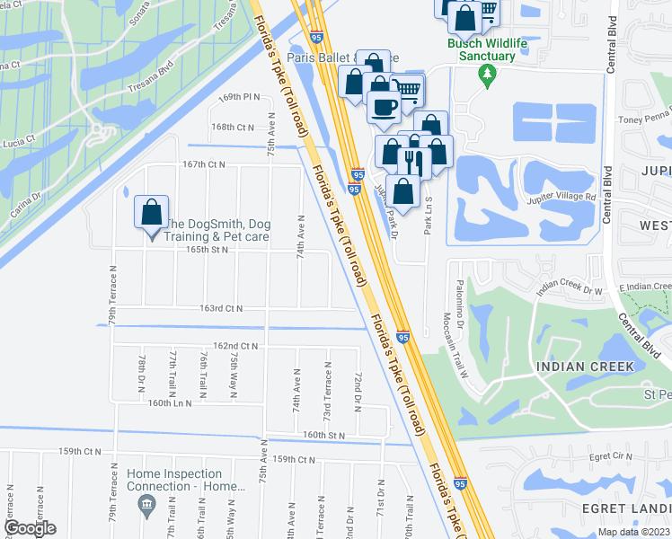 Map Of Palm Beach Florida.16500 73rd Terrace North West Palm Beach Fl Walk Score