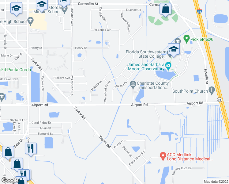 map of restaurants, bars, coffee shops, grocery stores, and more near 7844 Mikasa Drive in Punta Gorda