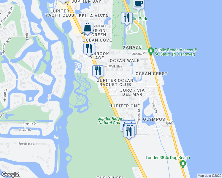 map of restaurants, bars, coffee shops, grocery stores, and more near in Jupiter