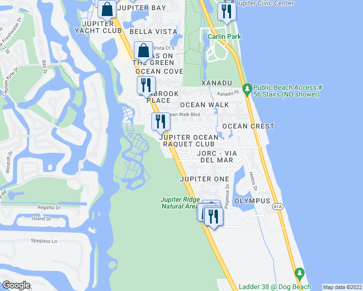 map of restaurants, bars, coffee shops, grocery stores, and more near 1605 U.S. 1 in Jupiter