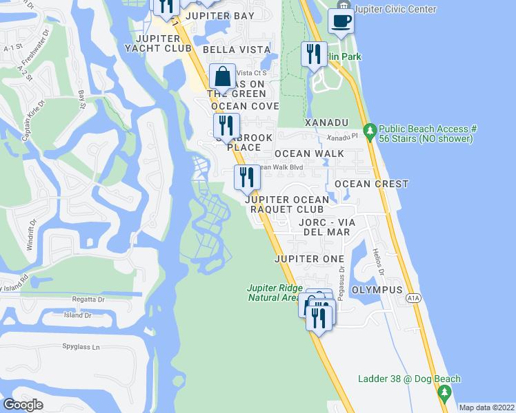 map of restaurants, bars, coffee shops, grocery stores, and more near Route 1 in Jupiter