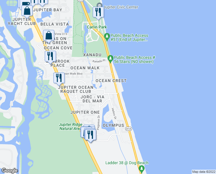 map of restaurants, bars, coffee shops, grocery stores, and more near 1300 Highway A1A in Jupiter