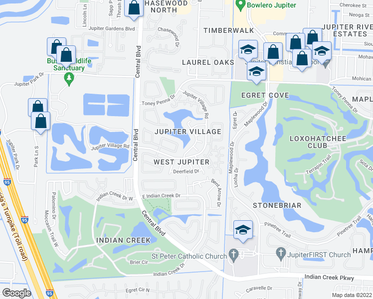 map of restaurants, bars, coffee shops, grocery stores, and more near 118 Timberline Dr in Jupiter