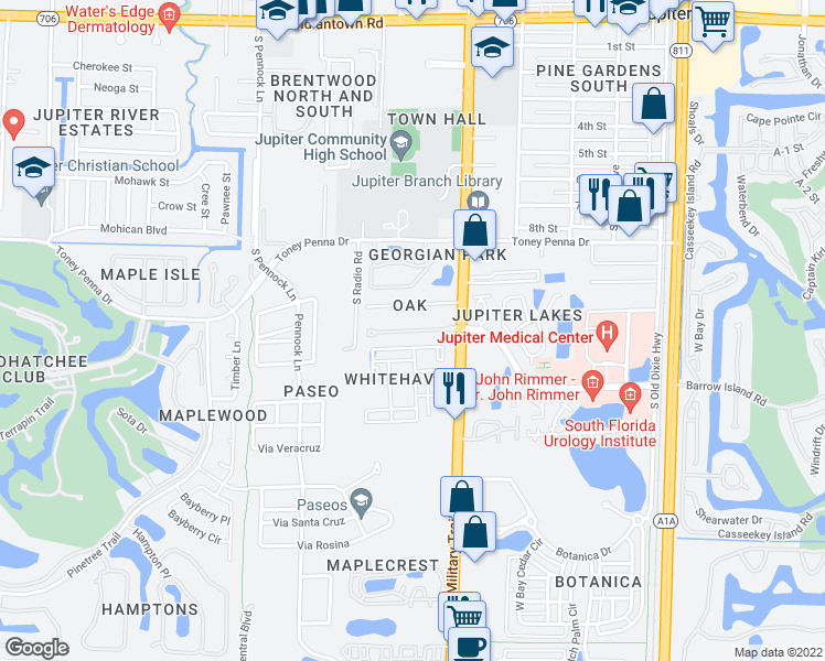 map of restaurants, bars, coffee shops, grocery stores, and more near Summerwinds Lane in Jupiter