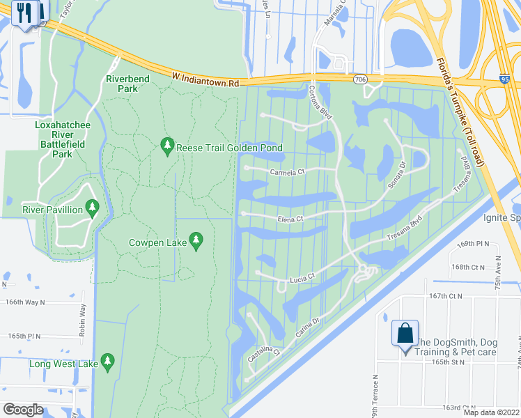 map of restaurants, bars, coffee shops, grocery stores, and more near 175 Elena Court in Jupiter