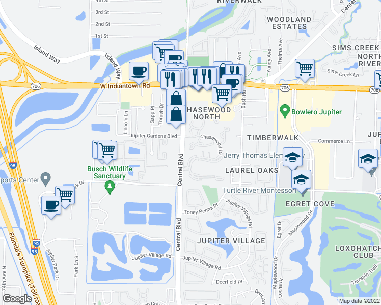 map of restaurants, bars, coffee shops, grocery stores, and more near 6392 Chasewood Drive in Jupiter
