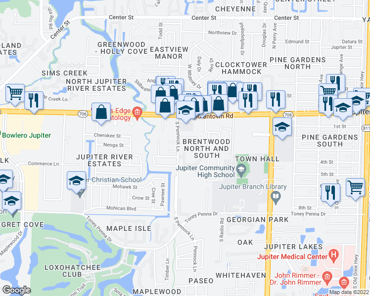 map of restaurants, bars, coffee shops, grocery stores, and more near 1694 West Indiantown Road in Jupiter