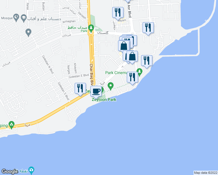 map of restaurants, bars, coffee shops, grocery stores, and more near ‫خیابان زیتون‬‎ in Qeshm
