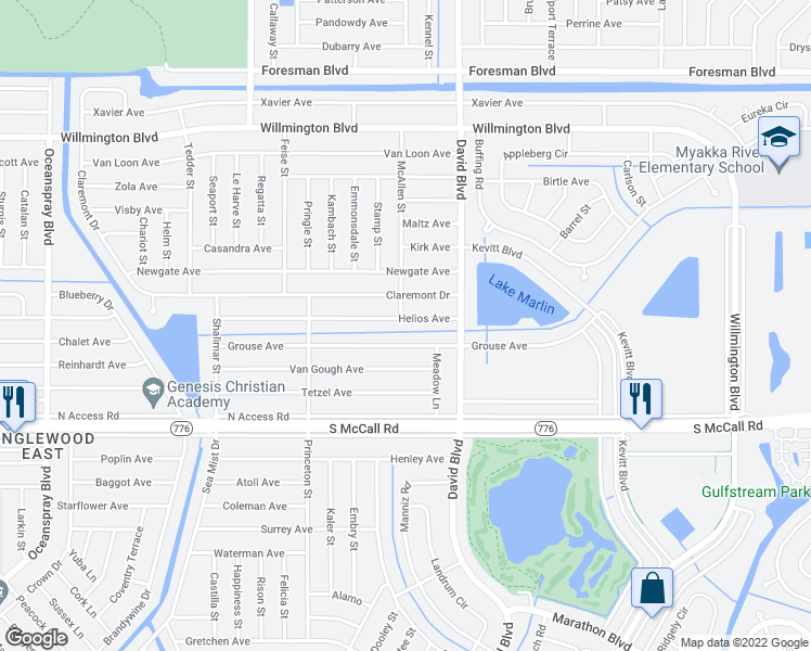 map of restaurants, bars, coffee shops, grocery stores, and more near 12201 Helios Avenue in Port Charlotte