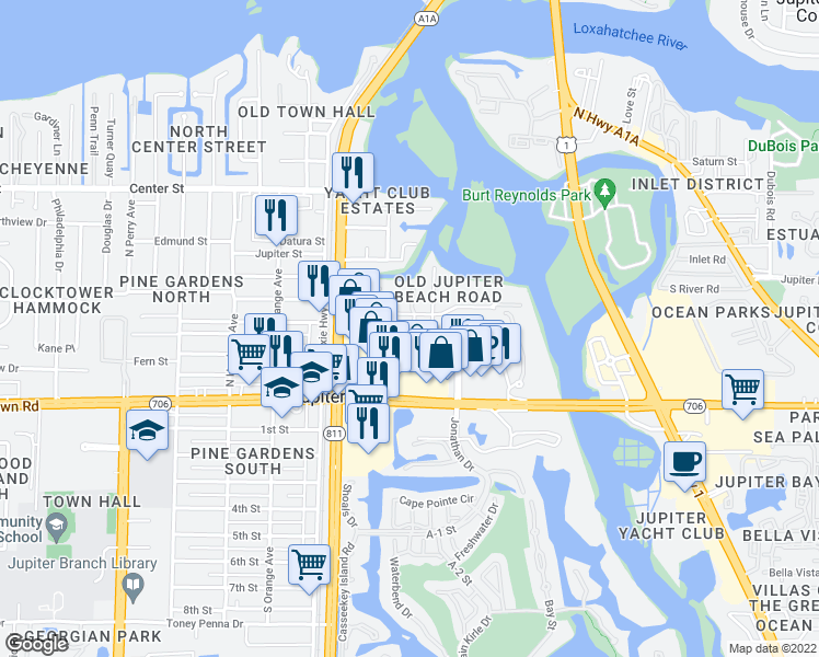 map of restaurants, bars, coffee shops, grocery stores, and more near 118 Diamante Way in Jupiter