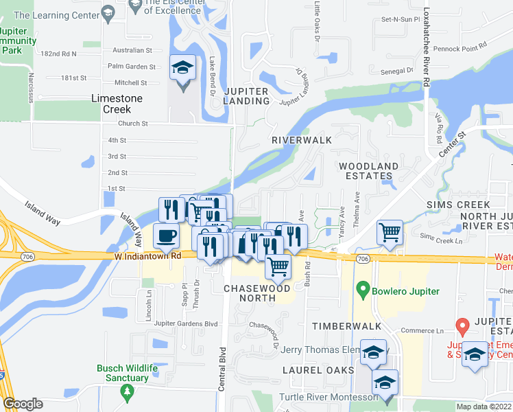 map of restaurants, bars, coffee shops, grocery stores, and more near 6375 Riverwalk Lane in Jupiter