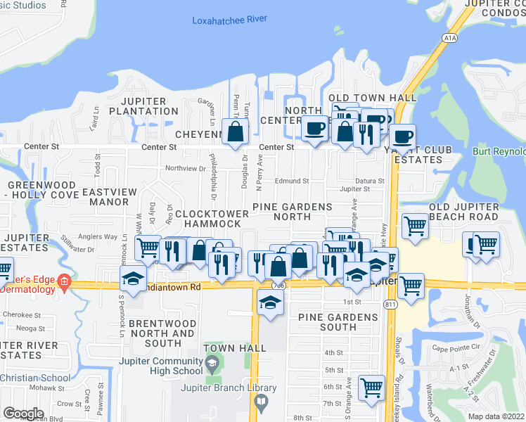 map of restaurants, bars, coffee shops, grocery stores, and more near 425 Hugh Street in Jupiter
