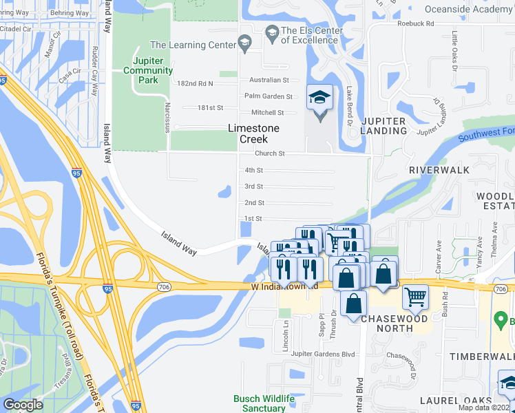 map of restaurants, bars, coffee shops, grocery stores, and more near 6924 2nd Street in Jupiter