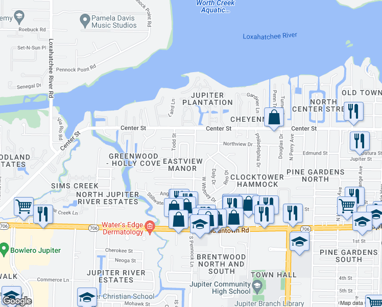 map of restaurants, bars, coffee shops, grocery stores, and more near 107 Pennock Landing Circle in Jupiter