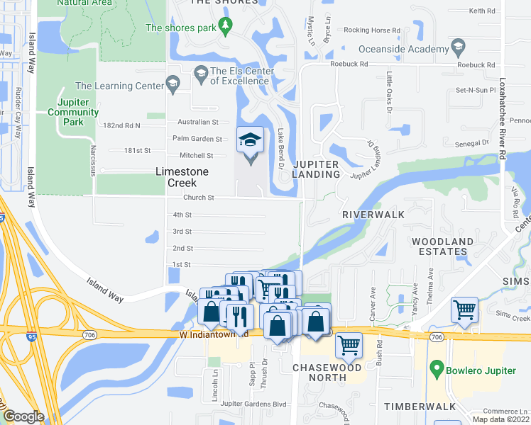 map of restaurants, bars, coffee shops, grocery stores, and more near 6633 4th Street in Jupiter