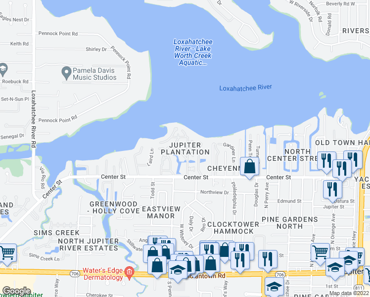 map of restaurants, bars, coffee shops, grocery stores, and more near 825 Center Street in Jupiter