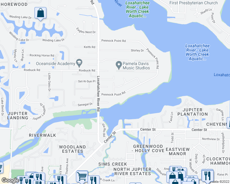 map of restaurants, bars, coffee shops, grocery stores, and more near 5605 Pennock Point Road in Jupiter