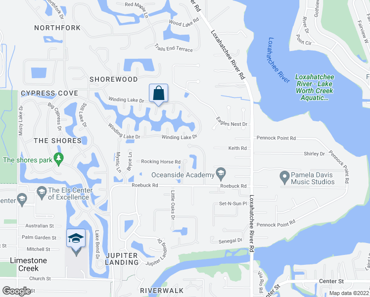 map of restaurants, bars, coffee shops, grocery stores, and more near 18633 Lakeside Gardens Drive in Jupiter