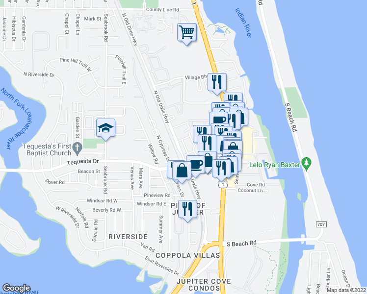 map of restaurants, bars, coffee shops, grocery stores, and more near 115 Lighthouse Circle in Tequesta