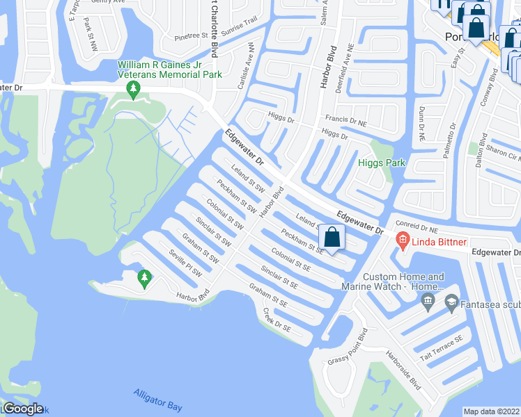 map of restaurants, bars, coffee shops, grocery stores, and more near 4253 Harbor Boulevard in Port Charlotte