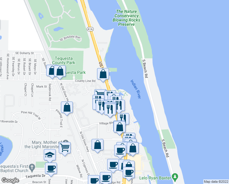 map of restaurants, bars, coffee shops, grocery stores, and more near 300 Intracoastal Place in Jupiter