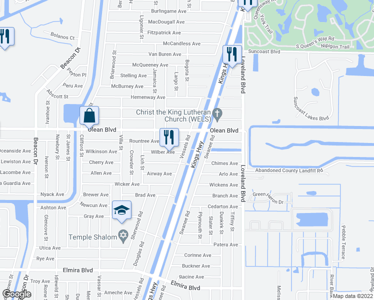 map of restaurants, bars, coffee shops, grocery stores, and more near 3124 Vessels Road in Punta Gorda