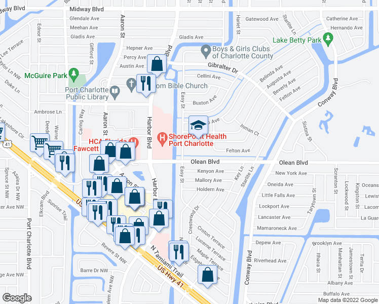 map of restaurants, bars, coffee shops, grocery stores, and more near 2550 Easy Street in Port Charlotte