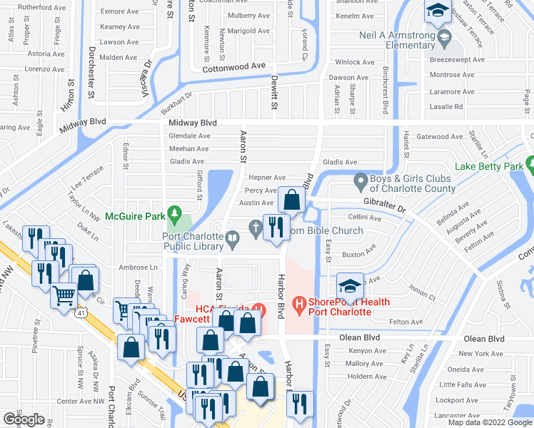 map of restaurants, bars, coffee shops, grocery stores, and more near 21306 Coulton Avenue in Port Charlotte