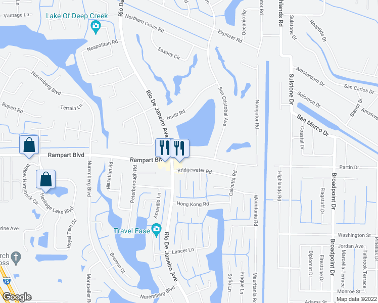 map of restaurants, bars, coffee shops, grocery stores, and more near 26282 Rampart Boulevard in Punta Gorda