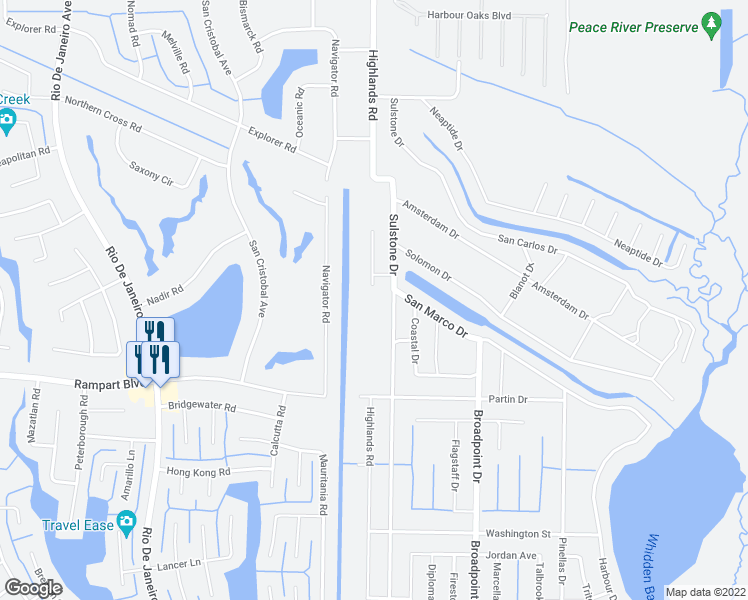 map of restaurants, bars, coffee shops, grocery stores, and more near 375 Kings Highway in Port Charlotte