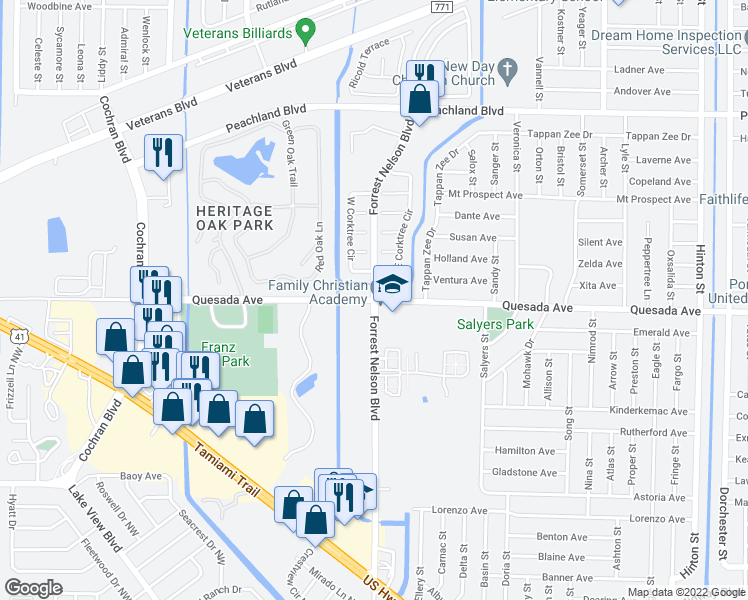 map of restaurants, bars, coffee shops, grocery stores, and more near Quesada Ave & Forrest Nelson Blvd in Port Charlotte