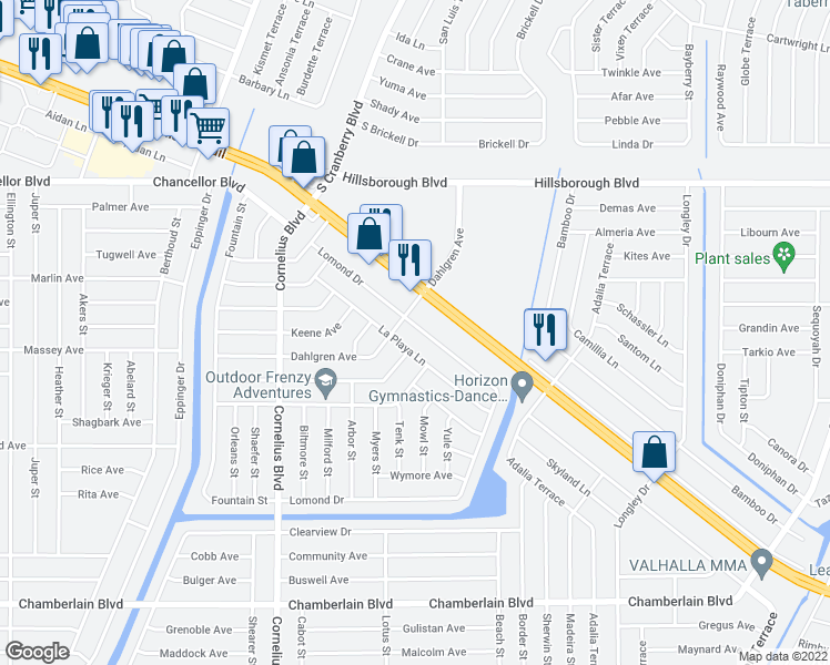map of restaurants, bars, coffee shops, grocery stores, and more near 241 Lomond Drive in Port Charlotte